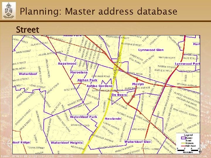 Planning: Master address database Street 41