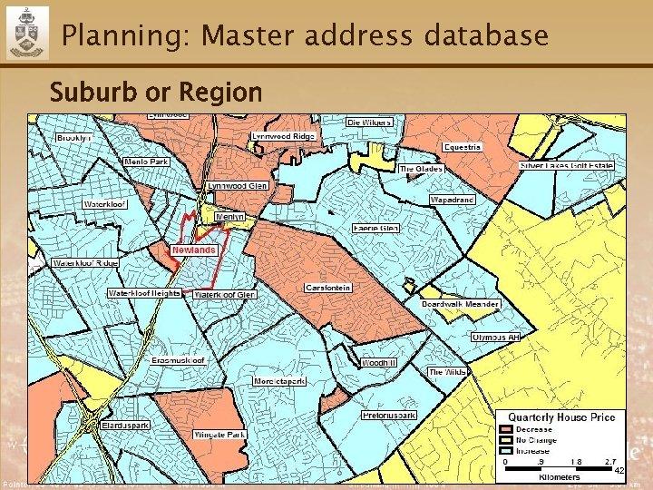 Planning: Master address database Suburb or Region 42