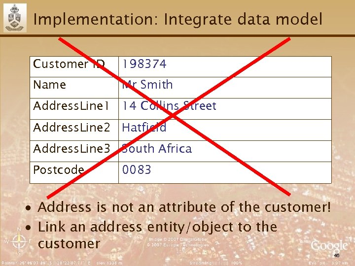 Implementation: Integrate data model Customer ID 198374 Name Mr Smith Address. Line 1 14