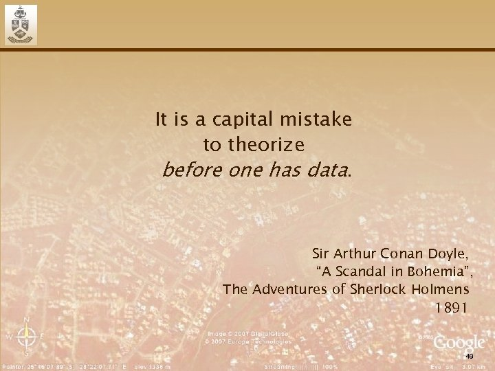 It is a capital mistake to theorize before one has data. Sir Arthur Conan