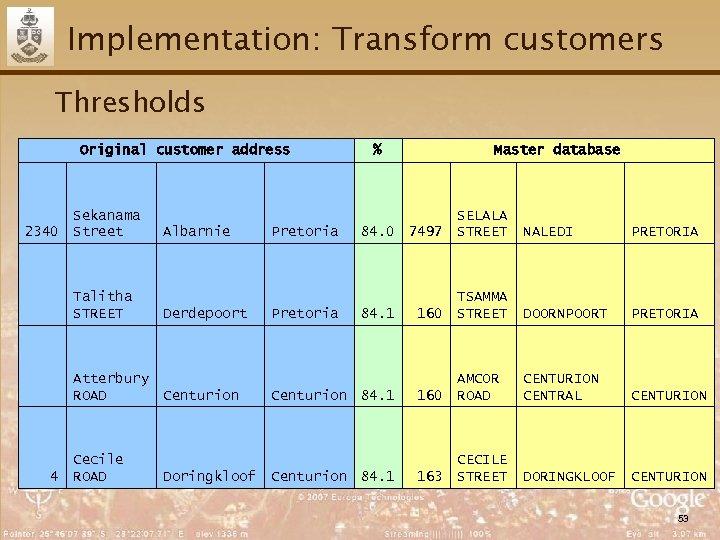 Implementation: Transform customers Thresholds Original customer address 2340 Sekanama Street Talitha STREET Atterbury ROAD