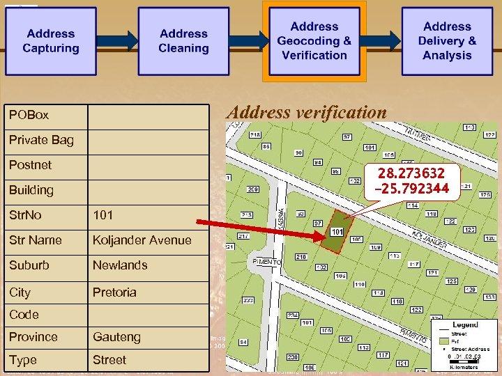 Address verification POBox Private Bag Postnet 28. 273632 -25. 792344 Building Str. No 101