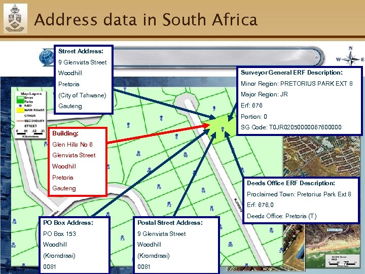 Address data in South Africa Street Address: 9 Glenvista Street Woodhill Surveyor General ERF