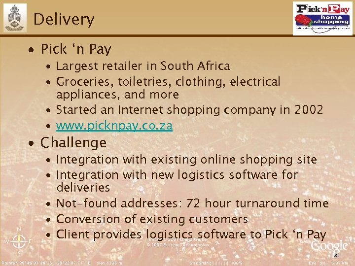 Delivery ∙ Pick 'n Pay ∙ Largest retailer in South Africa ∙ Groceries, toiletries,