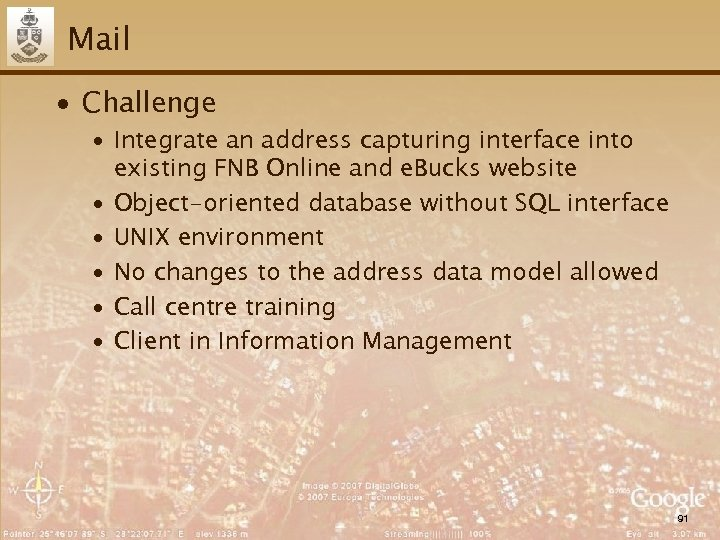 Mail ∙ Challenge ∙ Integrate an address capturing interface into existing FNB Online and