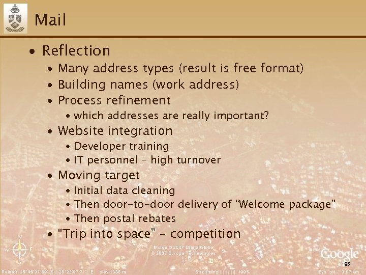 Mail ∙ Reflection ∙ Many address types (result is free format) ∙ Building names