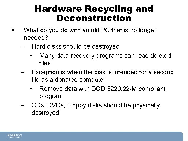 Hardware Recycling and Deconstruction § What do you do with an old PC that