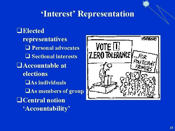 'Interest' Representation q Elected representatives q Personal advocates q Sectional interests q Accountable at