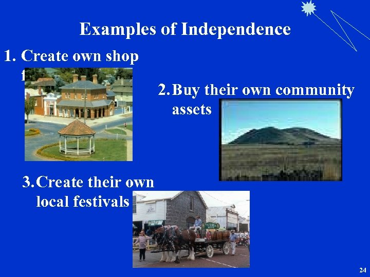 Examples of Independence 1. Create own shop front 2. Buy their own community assets