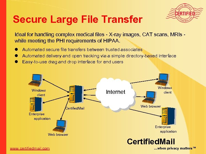 Secure Large File Transfer Ideal for handling complex medical files - X-ray images, CAT