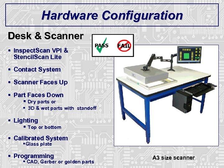 Hardware Configuration Desk & Scanner § Inspect. Scan VPI & Stencil. Scan Lite §