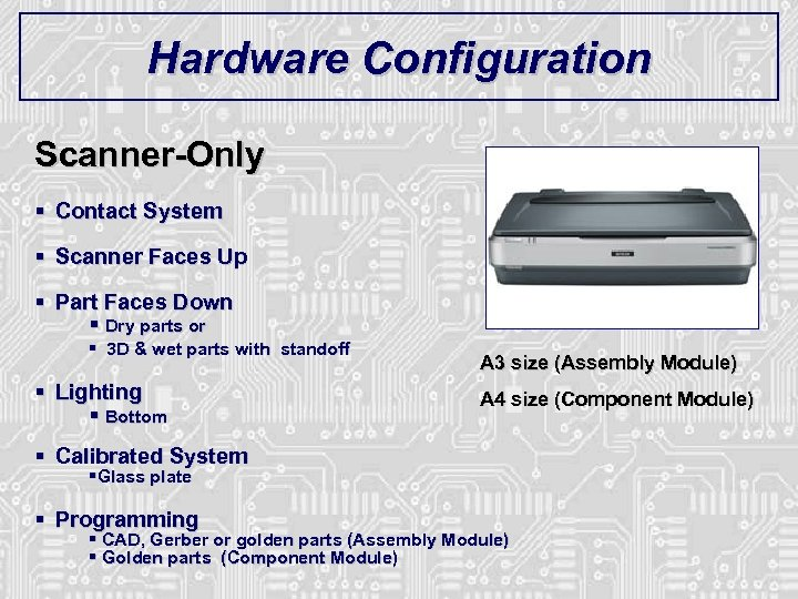 Hardware Configuration Scanner-Only § Contact System § Scanner Faces Up § Part Faces Down