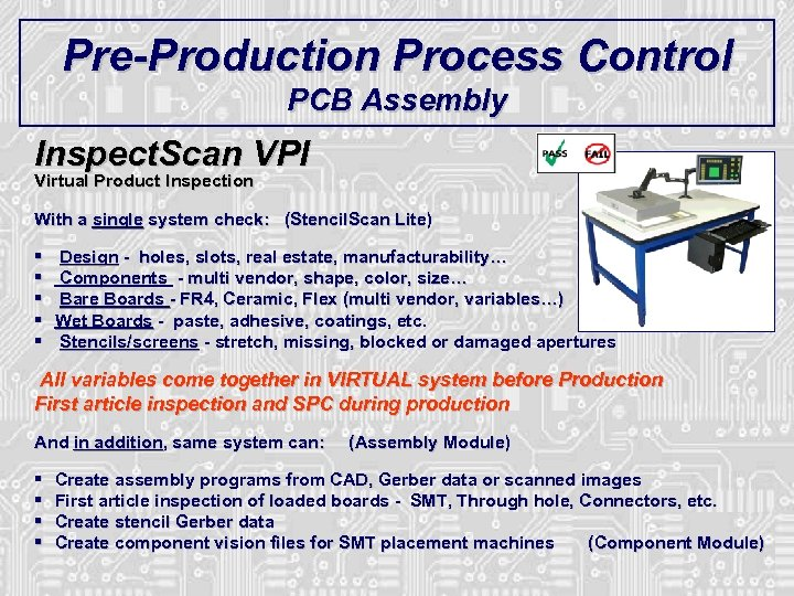 Pre-Production Process Control PCB Assembly Inspect. Scan VPI Virtual Product Inspection With a single
