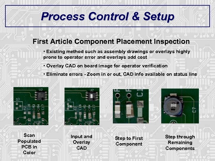 Process Control & Setup First Article Component Placement Inspection • Existing method such as