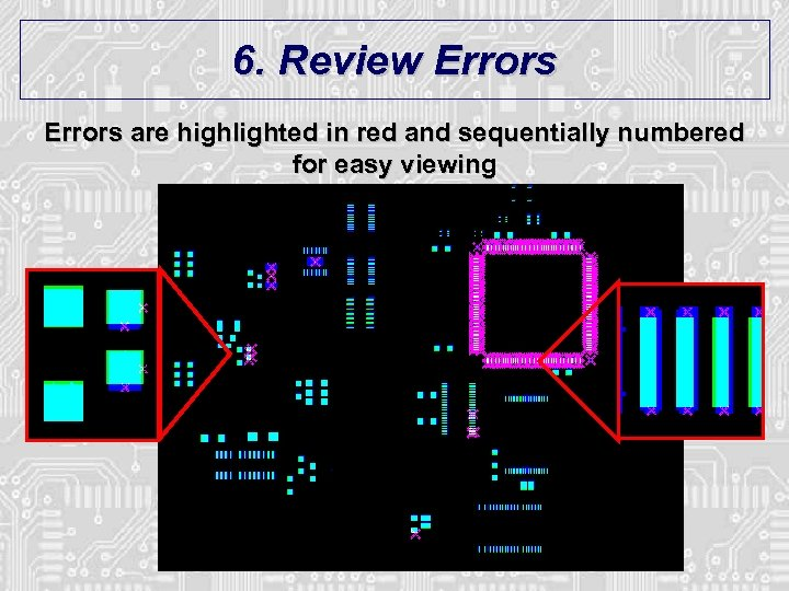 6. Review Errors are highlighted in red and sequentially numbered for easy viewing