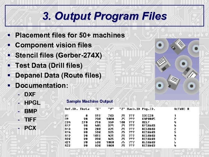 3. Output Program Files § § § Placement files for 50+ machines Component vision