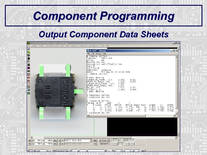 Component Programming Output Component Data Sheets