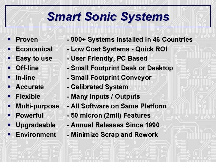 Smart Sonic Systems § § § Proven Economical Easy to use Off-line In-line Accurate