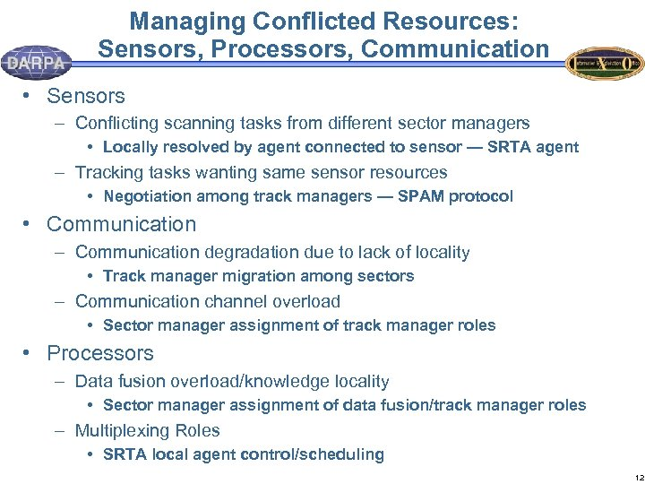 Managing Conflicted Resources: Sensors, Processors, Communication • Sensors – Conflicting scanning tasks from different