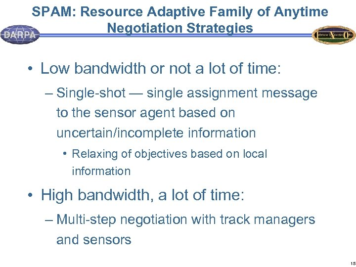 SPAM: Resource Adaptive Family of Anytime Negotiation Strategies • Low bandwidth or not a