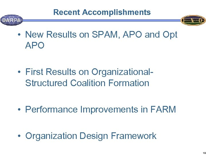 Recent Accomplishments • New Results on SPAM, APO and Opt APO • First Results