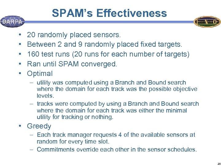 SPAM's Effectiveness • • • 20 randomly placed sensors. Between 2 and 9 randomly