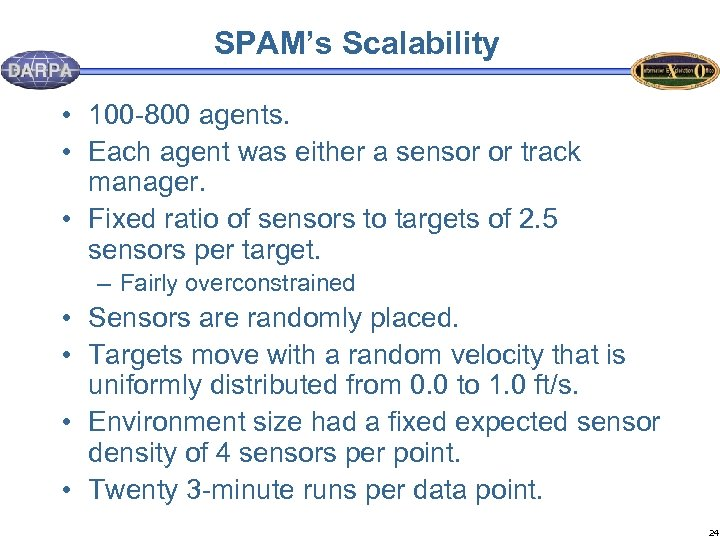 SPAM's Scalability • 100 -800 agents. • Each agent was either a sensor or