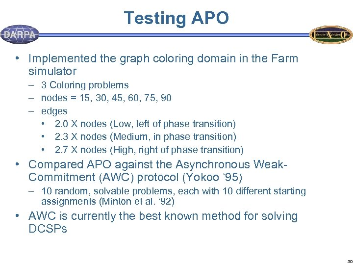 Testing APO • Implemented the graph coloring domain in the Farm simulator – 3
