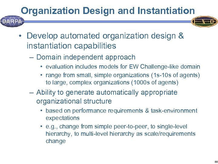 Organization Design and Instantiation • Develop automated organization design & instantiation capabilities – Domain