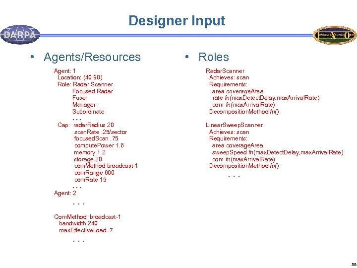 Designer Input • Agents/Resources Agent: 1 Location: (40 90) Role: Radar Scanner Focused Radar