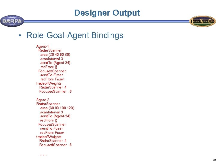 Designer Output • Role-Goal-Agent Bindings Agent-1 Radar. Scanner area (20 40 60 80) scan.