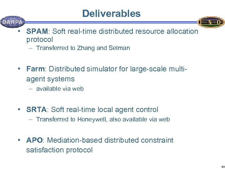 Deliverables • SPAM: Soft real-time distributed resource allocation protocol – Transferred to Zhang and