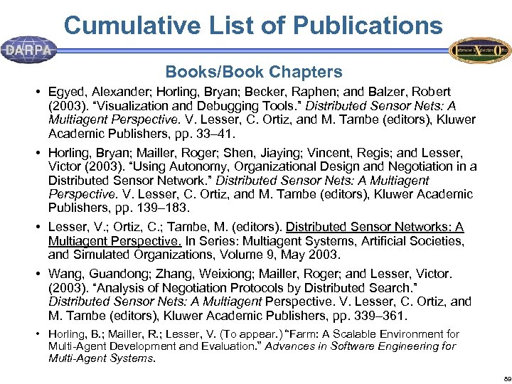 Cumulative List of Publications Books/Book Chapters • Egyed, Alexander; Horling, Bryan; Becker, Raphen; and