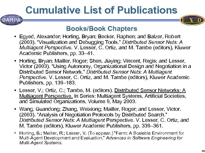 Cumulative List of Publications Books/Book Chapters • Egyed, Alexander; Horling, Bryan; Becker, Raphen; and