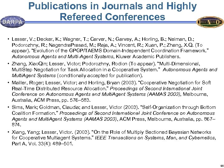 Publications in Journals and Highly Refereed Conferences • Lesser, V. ; Decker, K. ;