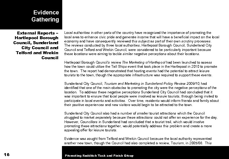 Evidence Gathering External Reports – Hartlepool Borough Council, Sunderland City Council and Telford and