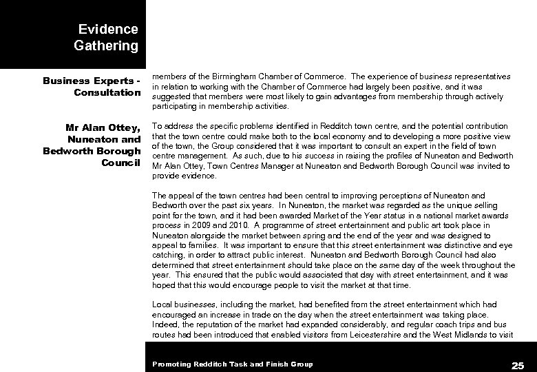 Evidence Gathering Business Experts Consultation members of the Birmingham Chamber of Commerce. The experience