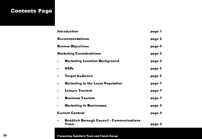 Contents Page Introduction page 1 Recommendations page 2 Review Objectives page 5 Marketing Considerations