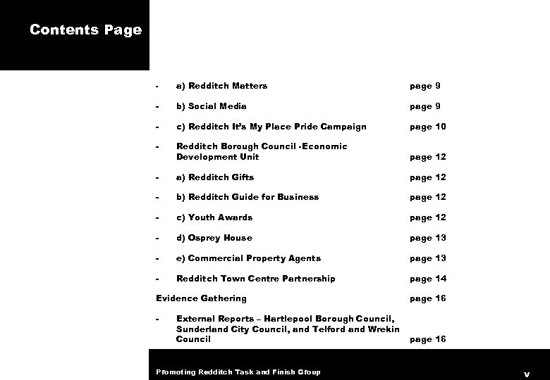 Contents Page - a) Redditch Matters page 9 - b) Social Media page 9