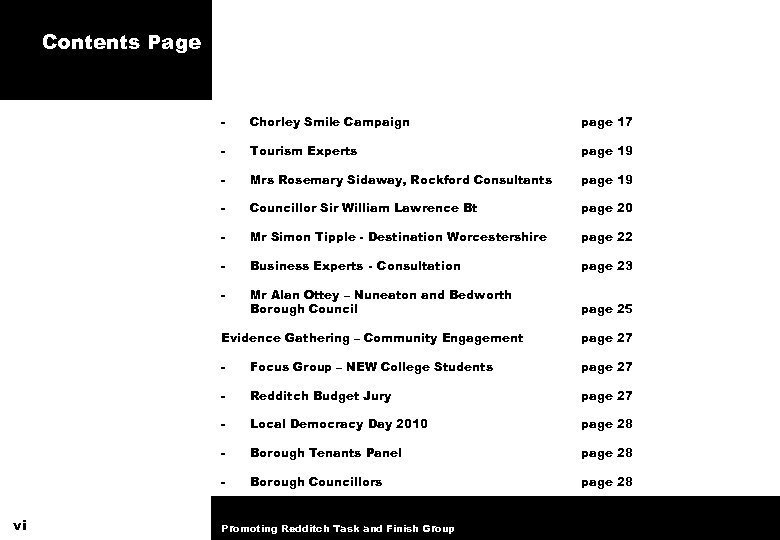 Contents Page - Chorley Smile Campaign page 17 - Tourism Experts page 19 -