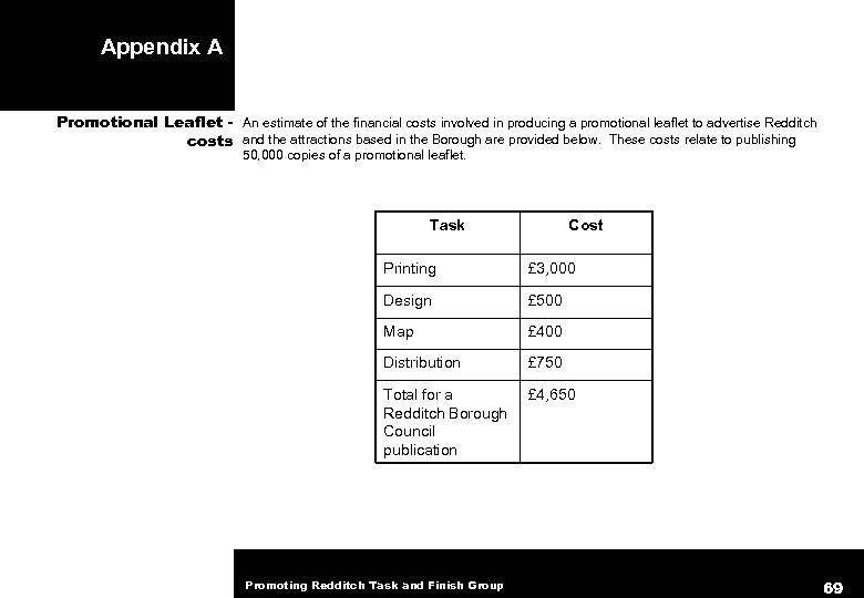 Appendix A Promotional Leaflet - An estimate of the financial costs involved in producing