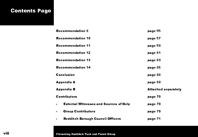 Contents Page Recommendation 9 Recommendation 10 page 57 Recommendation 11 page 59 Recommendation 12