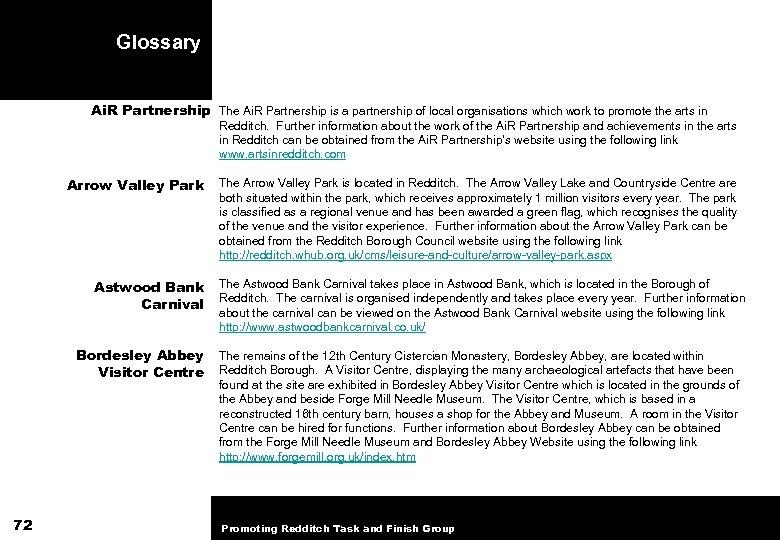 Glossary Ai. R Partnership The Ai. R Partnership is a partnership of local organisations
