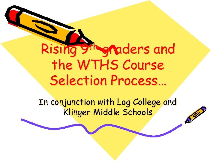 Rising 9 th graders and the WTHS Course Selection Process… In conjunction with Log