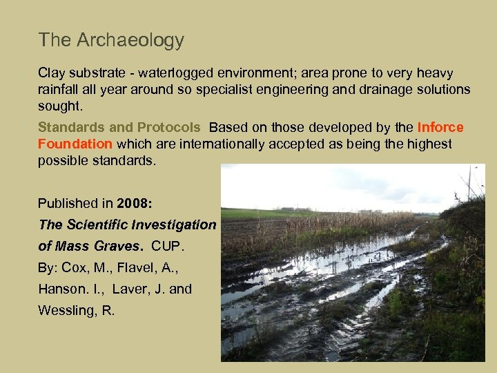 The Archaeology • • Clay substrate - waterlogged environment; area prone to very heavy