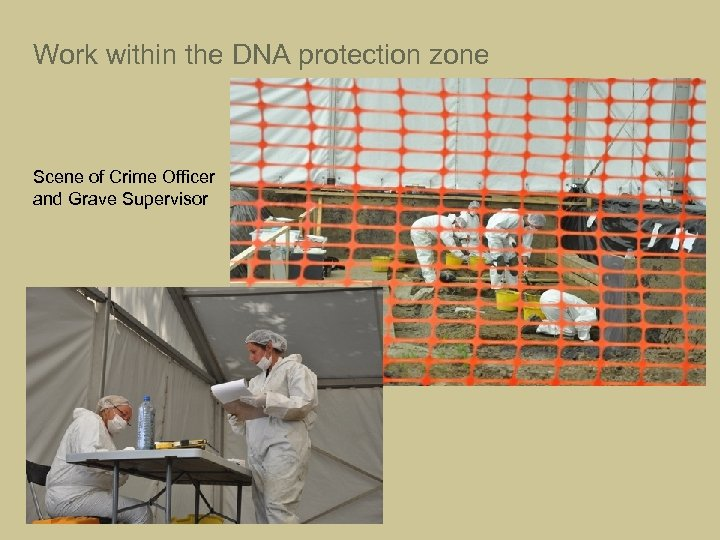 Work within the DNA protection zone Scene of Crime Officer and Grave Supervisor