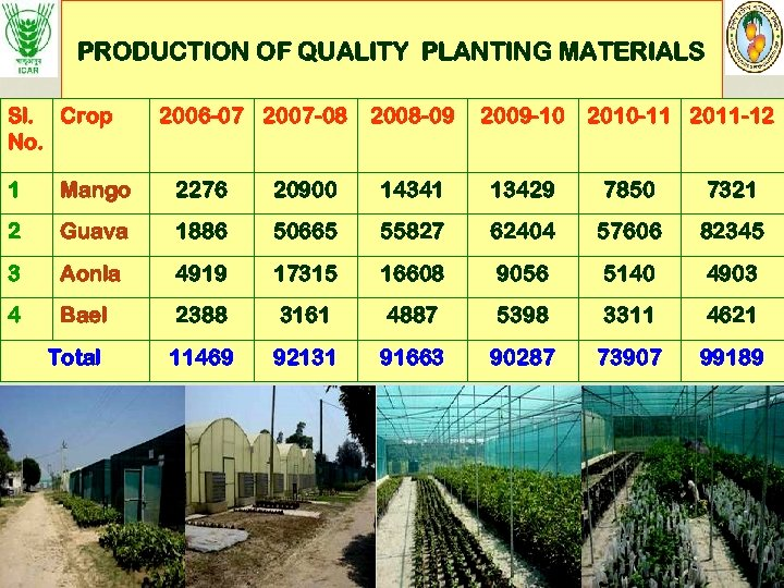 PRODUCTION OF QUALITY PLANTING MATERIALS Sl. Crop No. 2006 -07 2007 -08 2008 -09