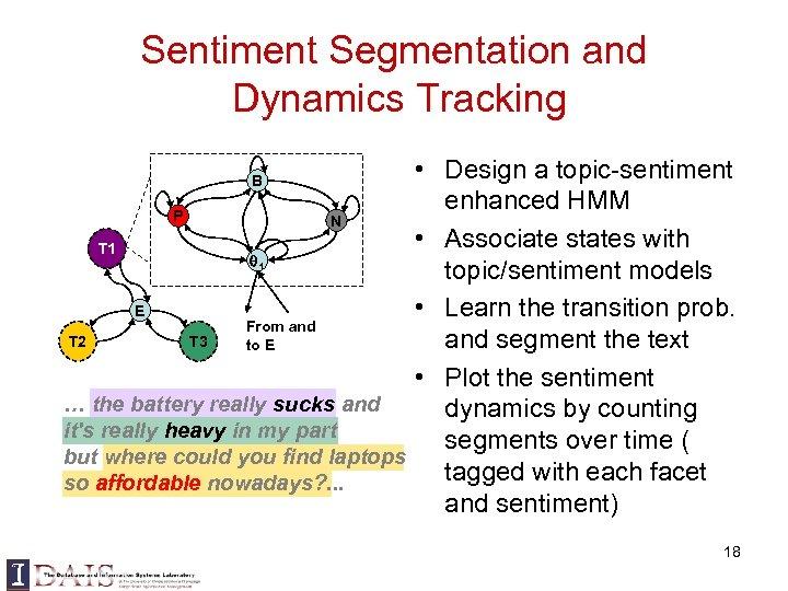 Sentiment Segmentation and Dynamics Tracking • Design a topic-sentiment enhanced HMM P N •