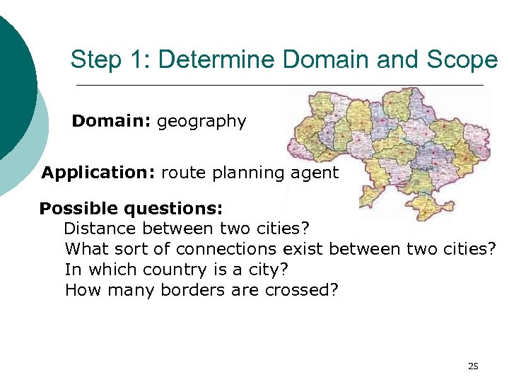 Step 1: Determine Domain and Scope Domain: geography Application: route planning agent Possible questions: