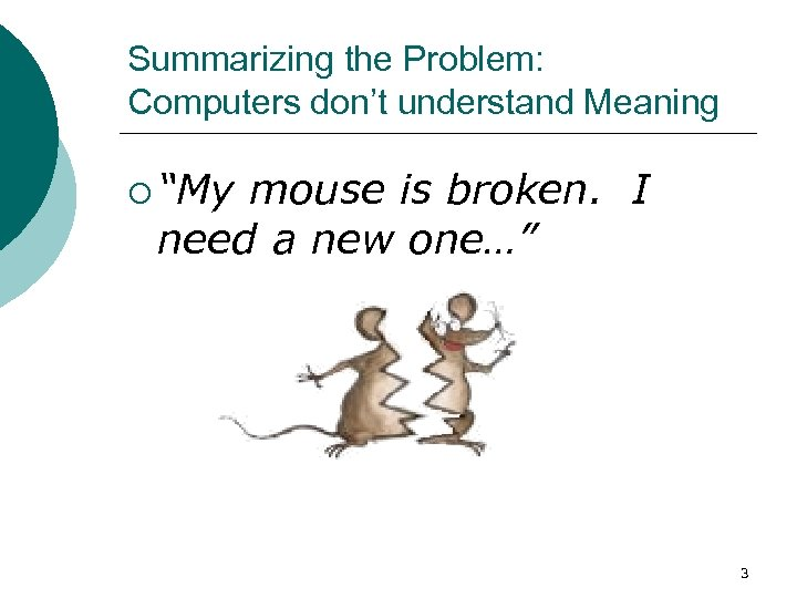 "Summarizing the Problem: Computers don't understand Meaning ¡ ""My mouse is broken. I need"